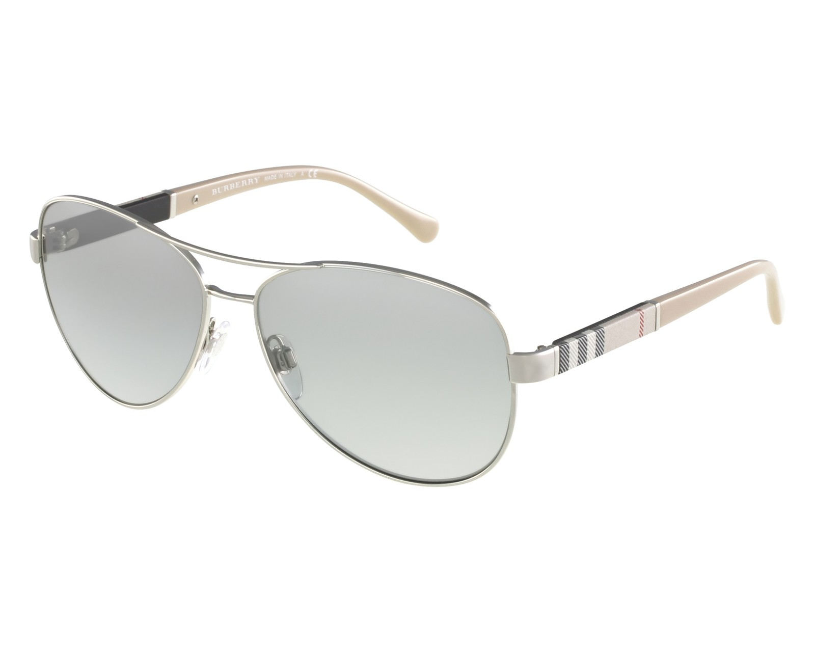 05083fbc17b Sunglasses Burberry BE-3080 1005 6V 59-14 Silver Beige front view