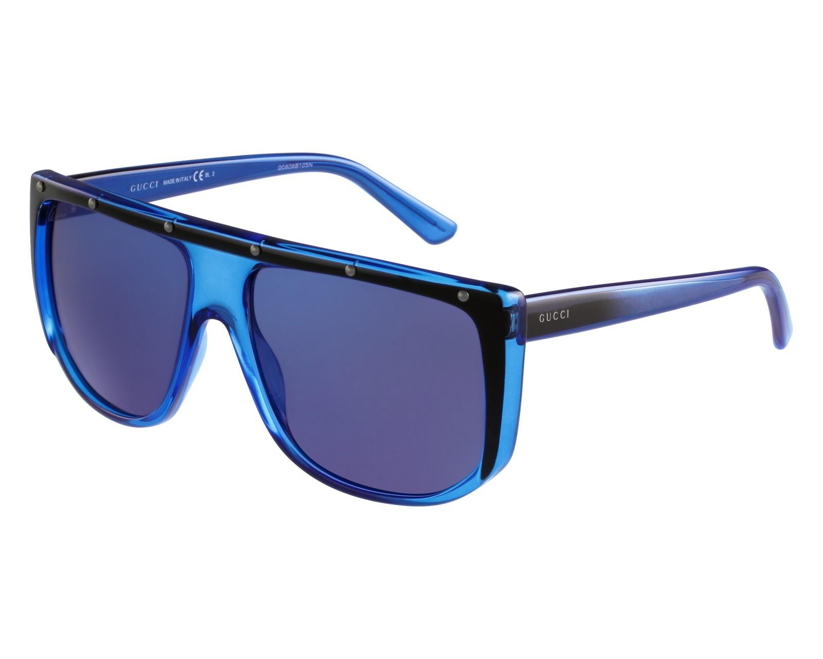 d76bcfca109 thumbnail Sunglasses Gucci GG-3705-S HXW XT - Blue Black front view