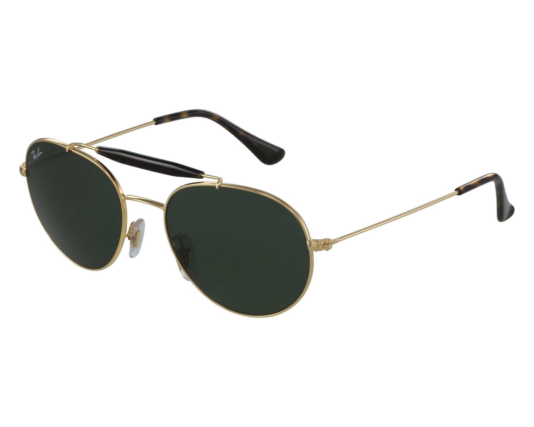 6b5c202203 Sunglasses Ray-Ban RB-3540 001 53-18 Gold Havana front view
