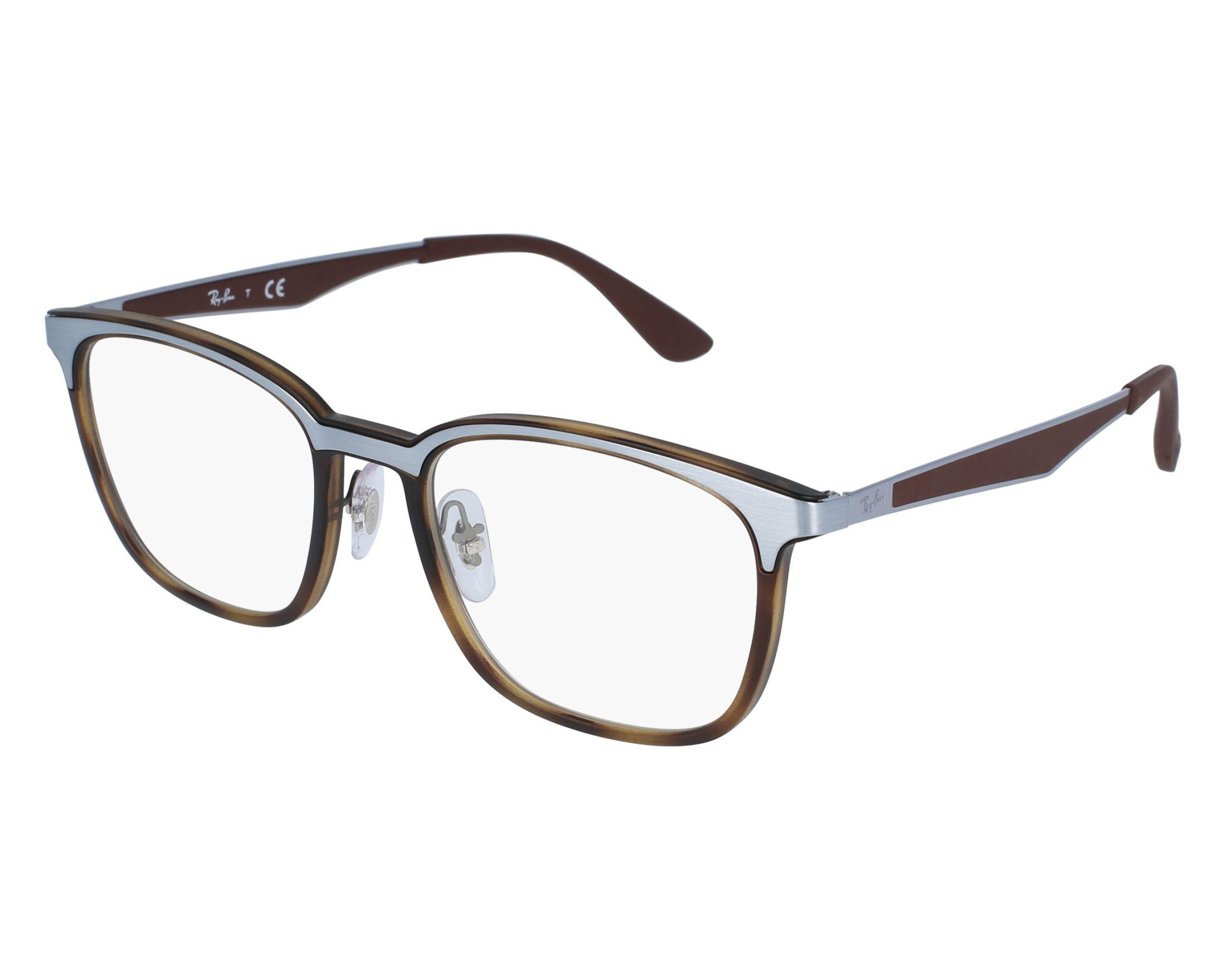 5e532312e5 eyeglasses Ray-Ban RX-7117 8016 52-19 Havana Brown front view