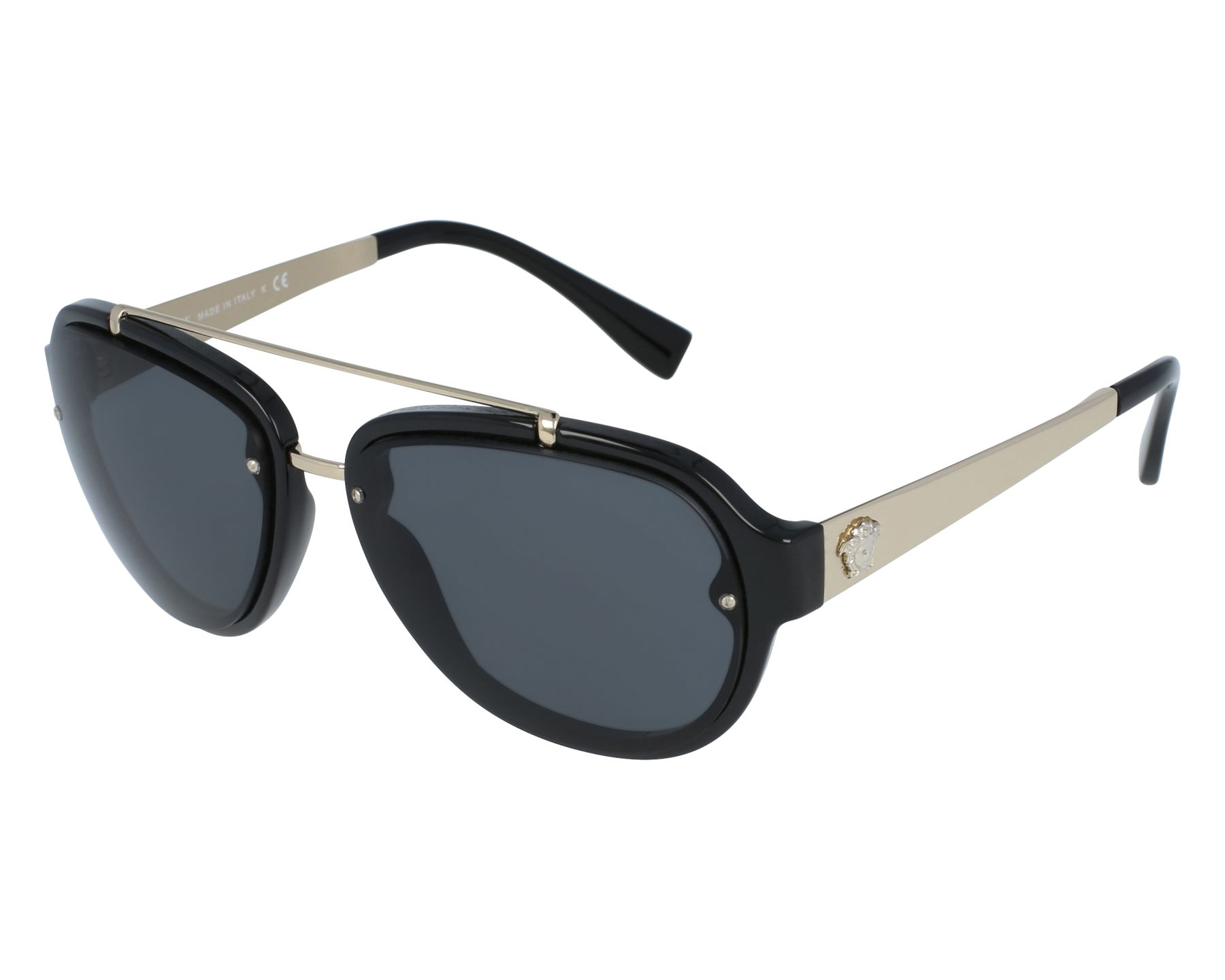 d6041dade385 Sunglasses Versace VE-4327 GB1 87 57-16 Black Gold front view