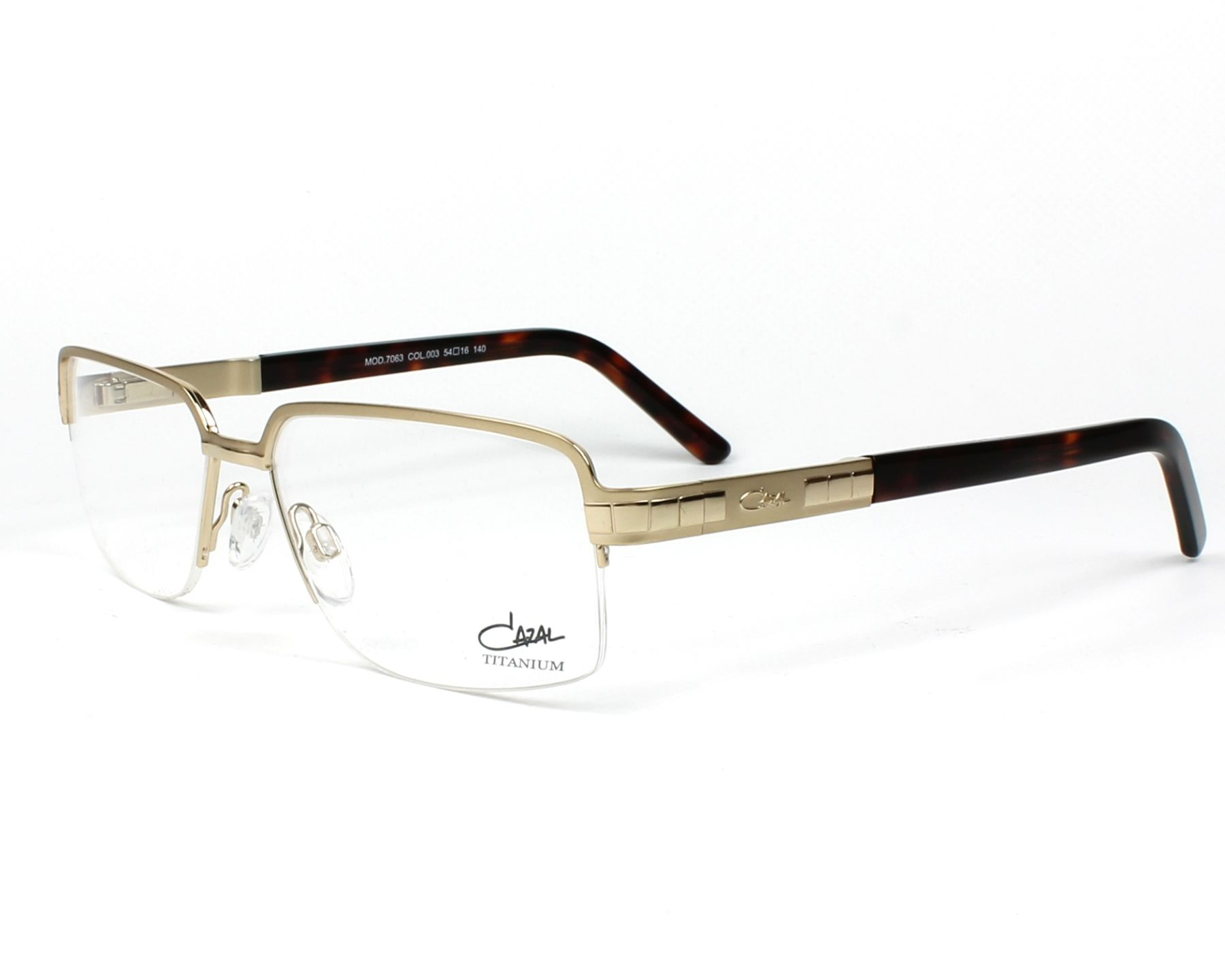 b0574df19f eyeglasses Cazal 7063 003 54-16 Gold Havana profile view
