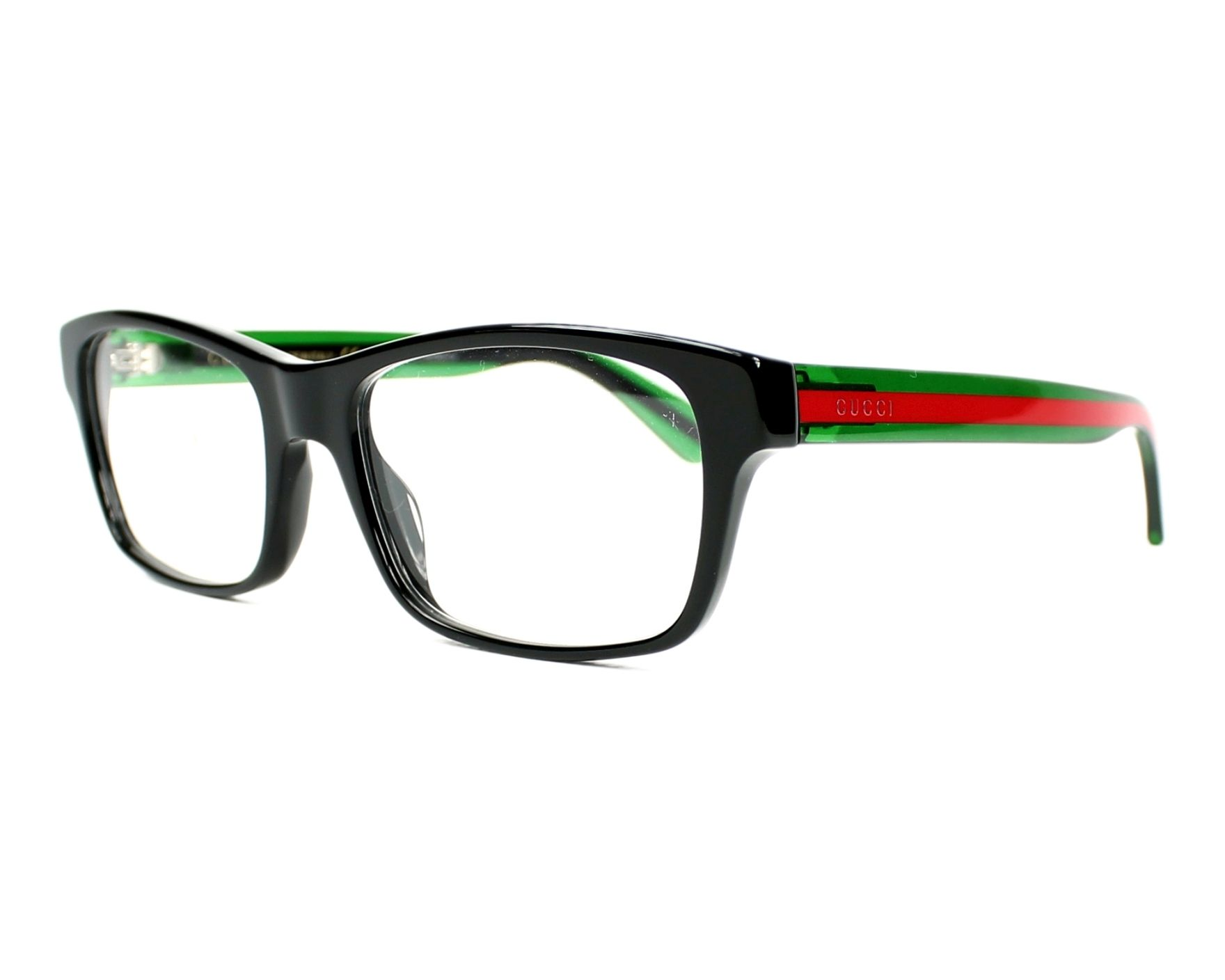 284f0add35 eyeglasses Gucci GG-0006-O 006 55-18 Black Green profile view