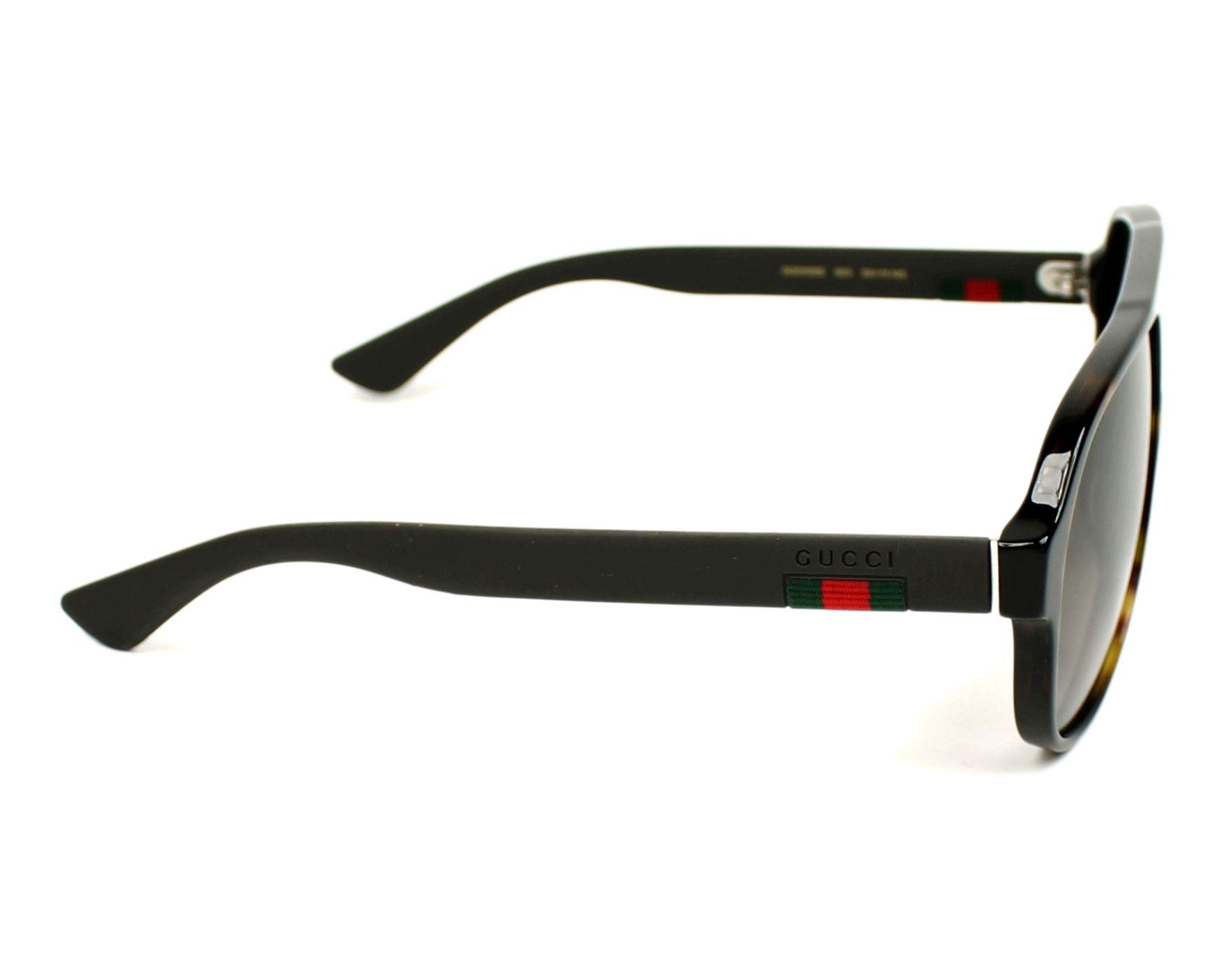 25edbdf7aa1 Sunglasses Gucci GG-0009-S 003 - Havana Grey side view