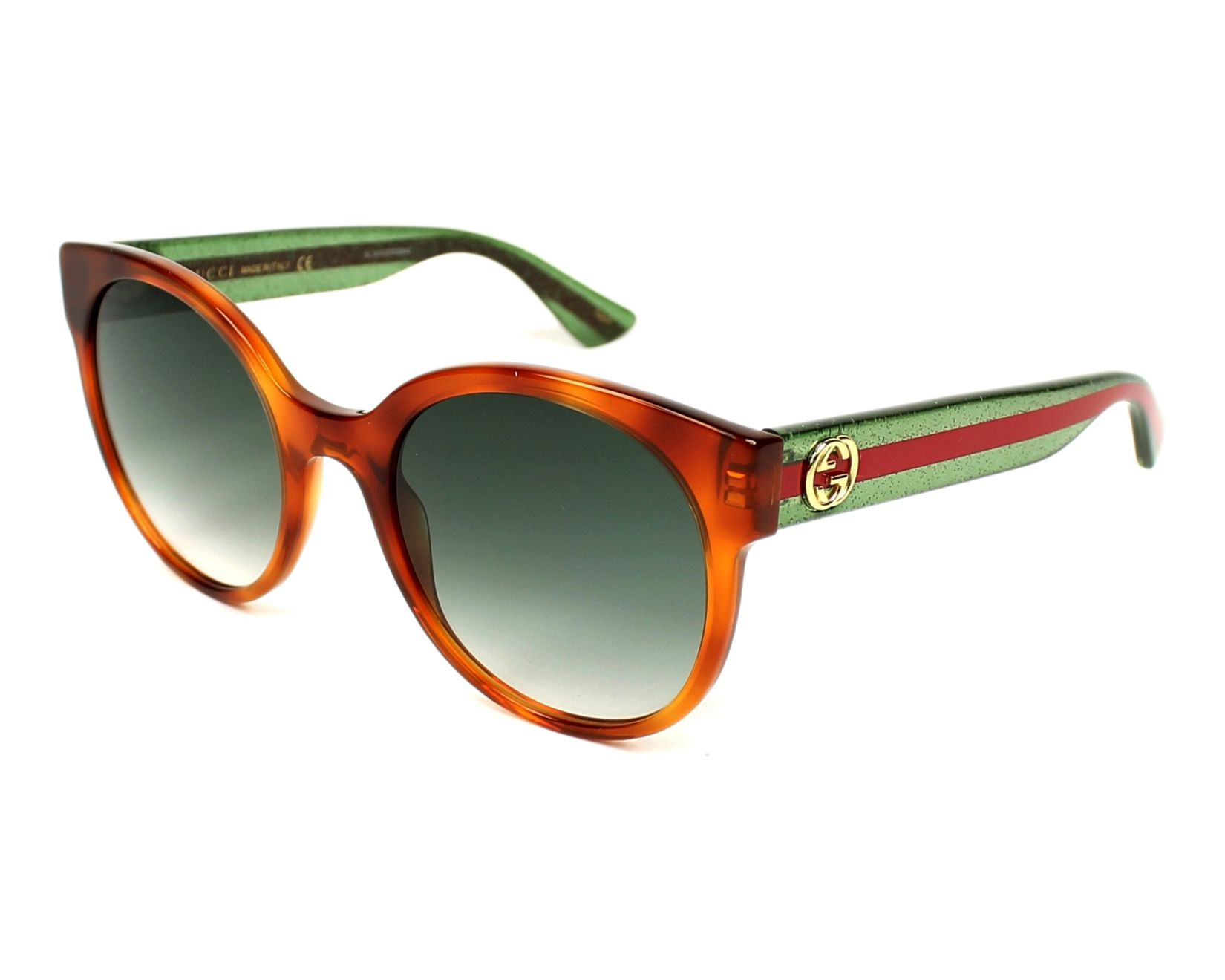 458f3b15e9 Sunglasses Gucci GG-0035-S 003 - Havana Green profile view