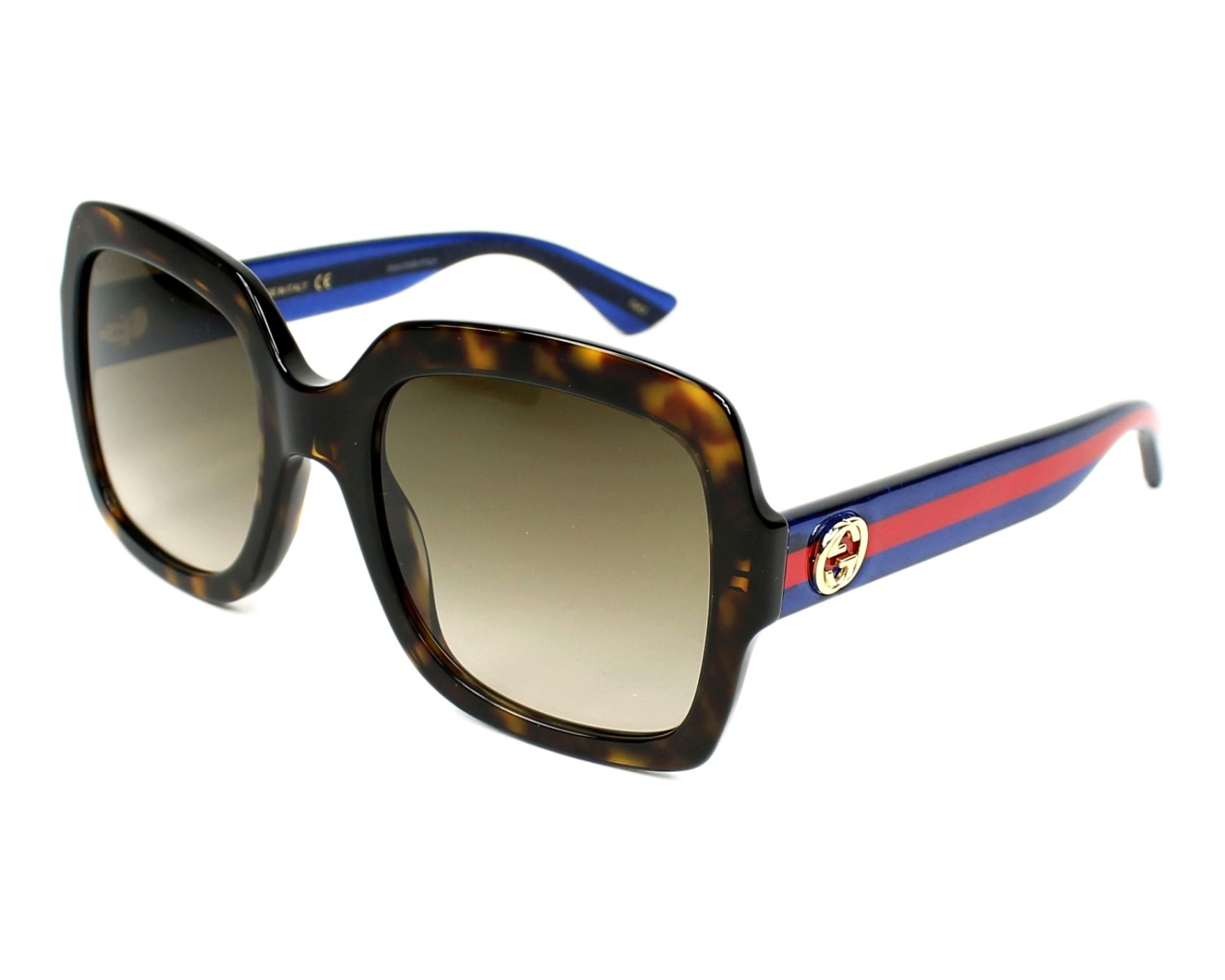 77b54abbe82 Sunglasses Gucci GG-0036-S 004 54-22 Havana Blue profile view