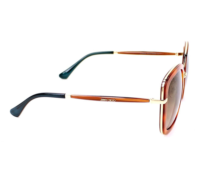 f87aa09a361 Sunglasses Jimmy Choo GLENN-S QAN J6 52-23 Havana Gold side view