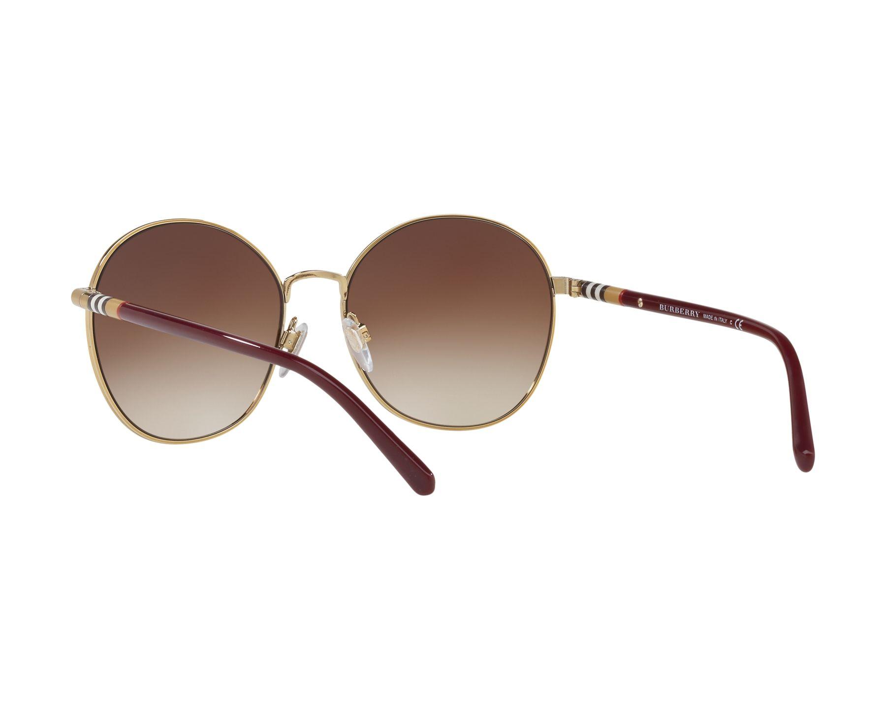 5c8b85f04c0 Sunglasses Burberry BE-3094 125613 56-17 Bordeaux Gold 360 degree view 6