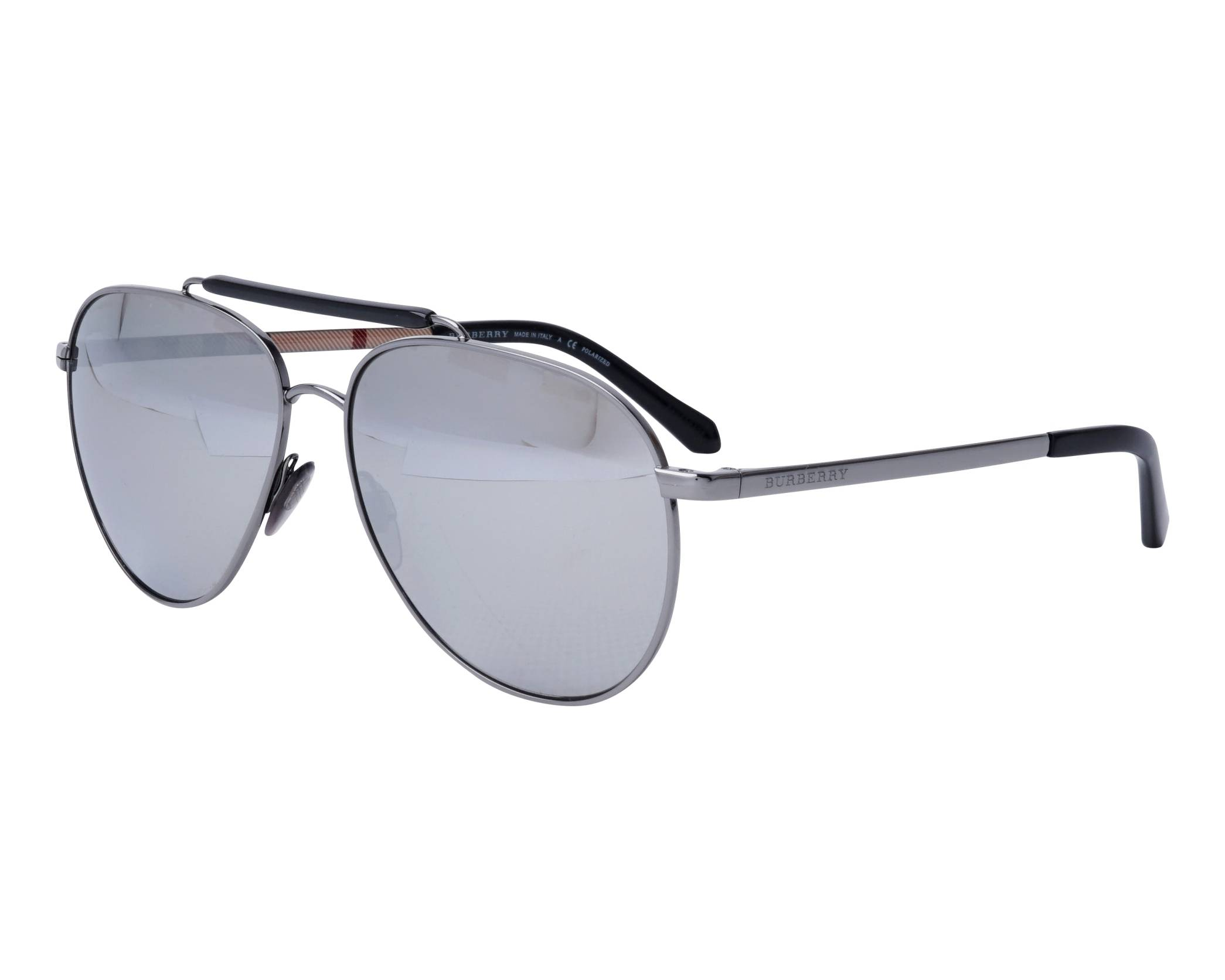 1b49332876259 Sunglasses Burberry BE-3097 1003Z3 59-14 Gun Black profile view