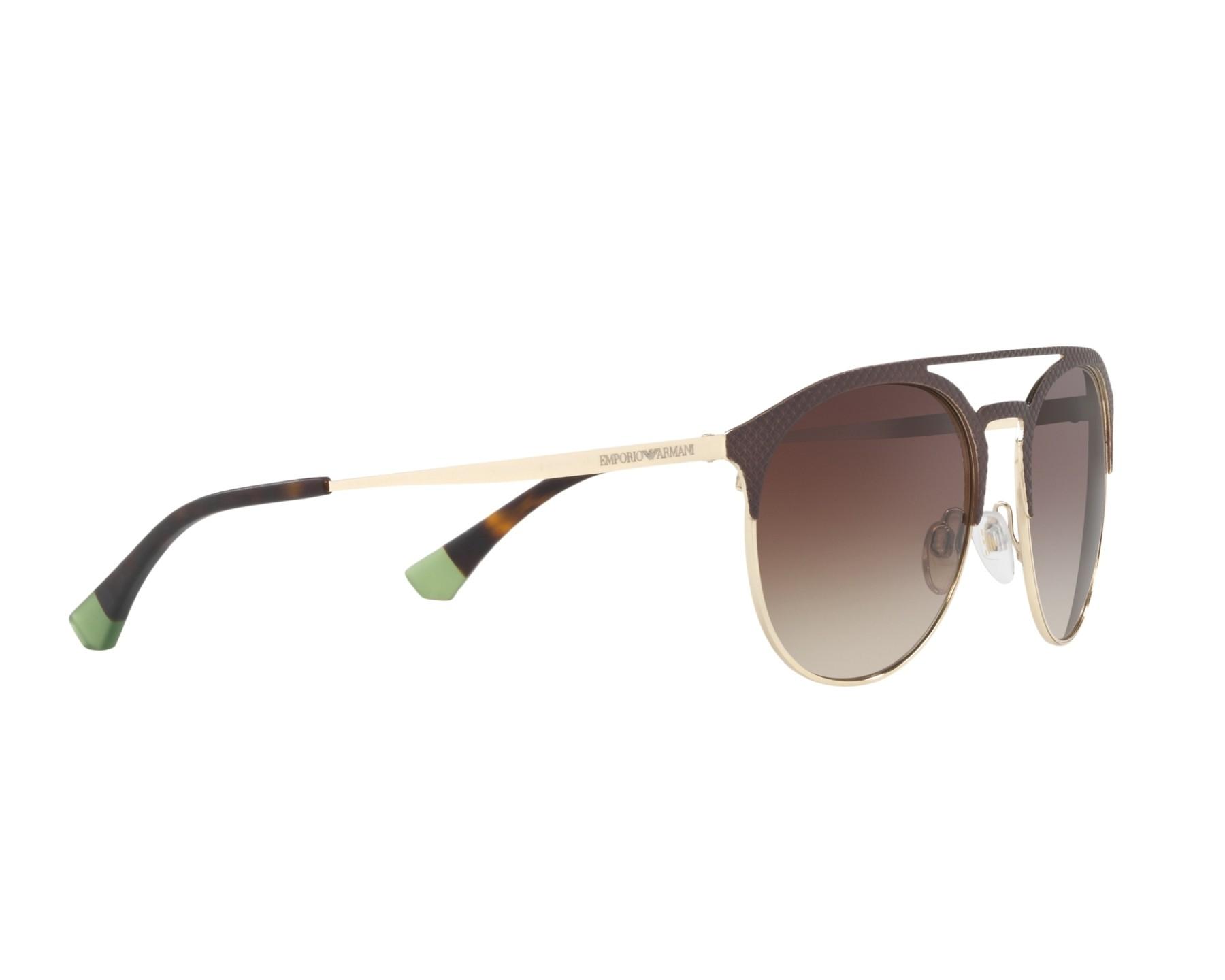 2df708e0a0ad Sunglasses Emporio Armani EA-2052 3182 13 56-19 Brown Gold 360 degree