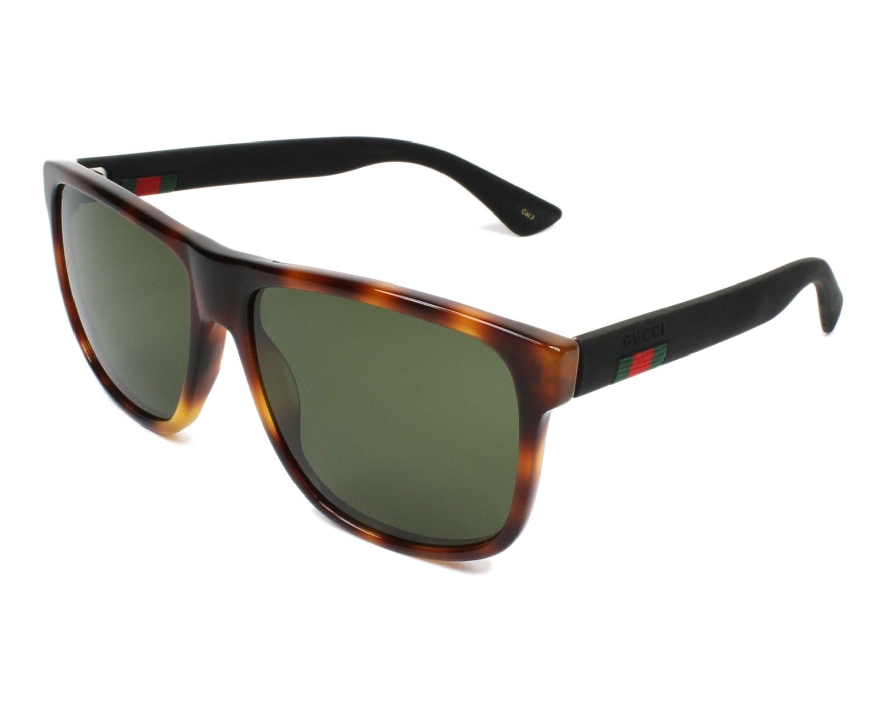 cf22dc19ad4 Sunglasses Gucci GG-0010-S 006 58-16 Havana Black profile view
