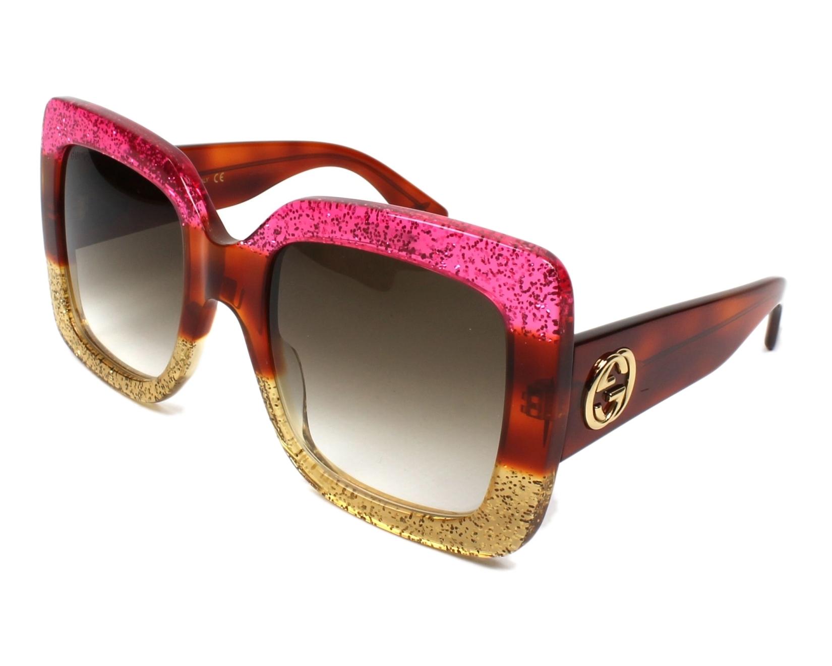 2622686b9d7 Sunglasses Gucci GG-0083-S 002 55-24 Fuchsia Brown profile view