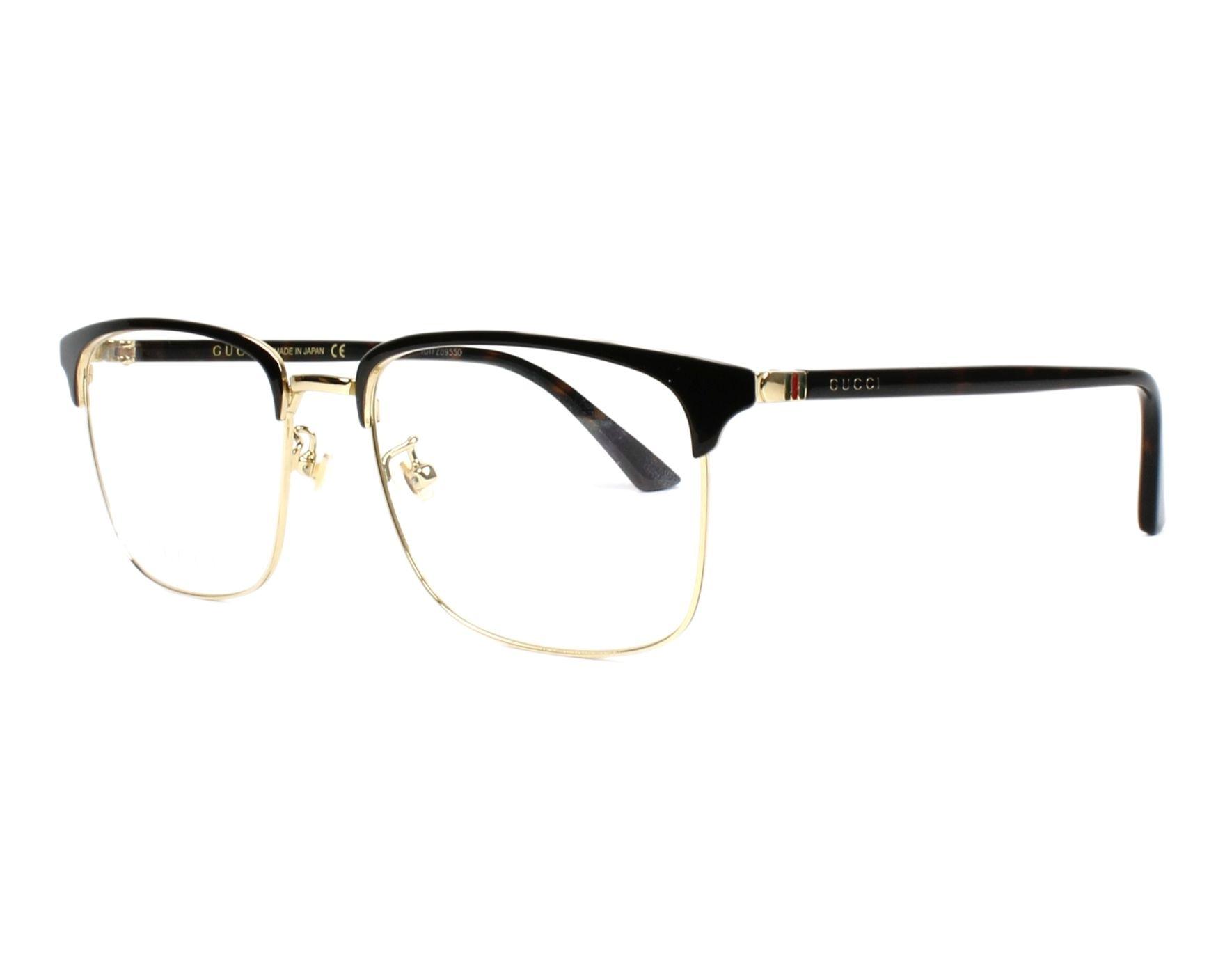 30c52e9f716bf eyeglasses Gucci GG-0130-O 005 - Black Gold profile view