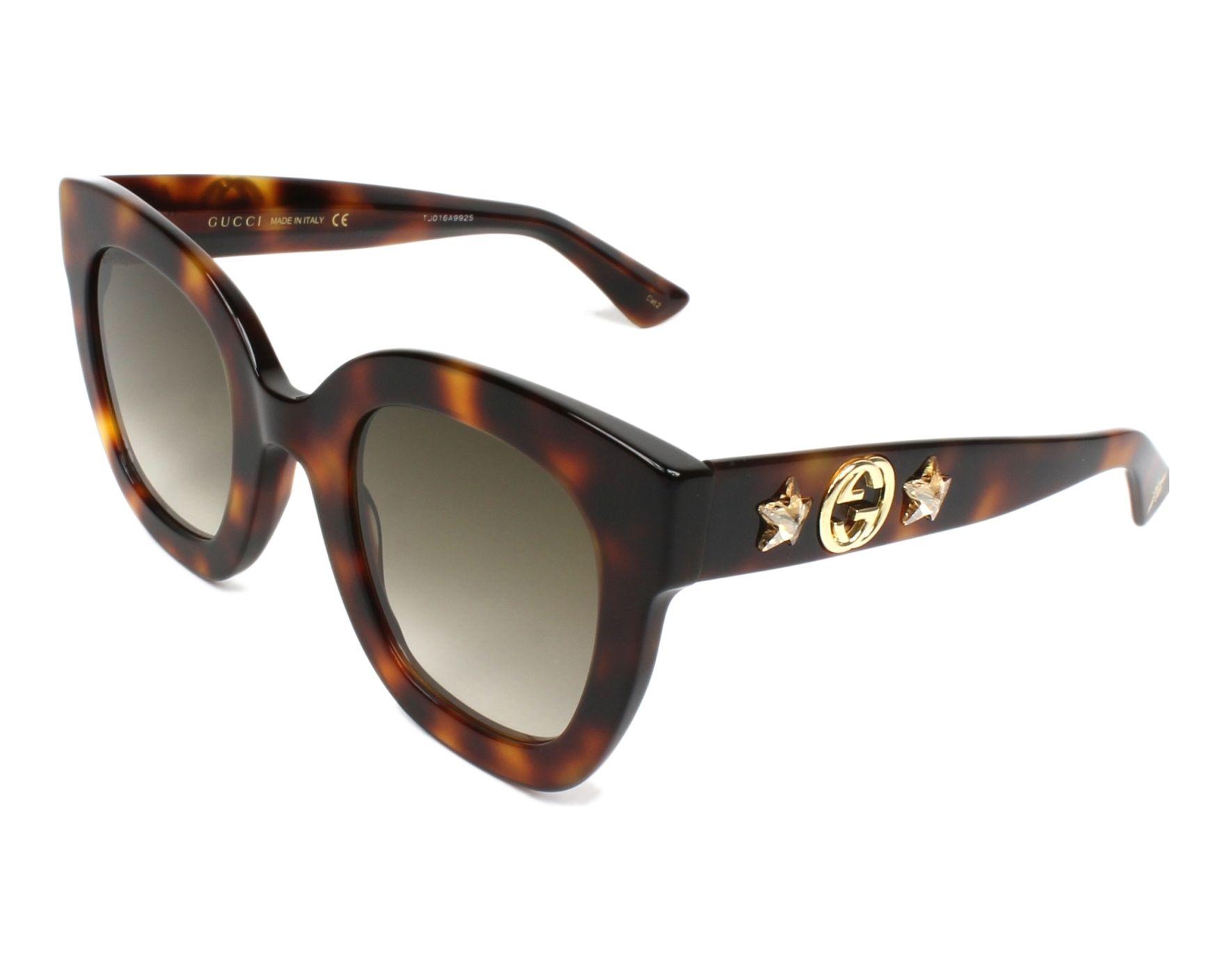 9a387d058b2 Sunglasses Gucci GG-0208-S 003 49-25 Havana profile view