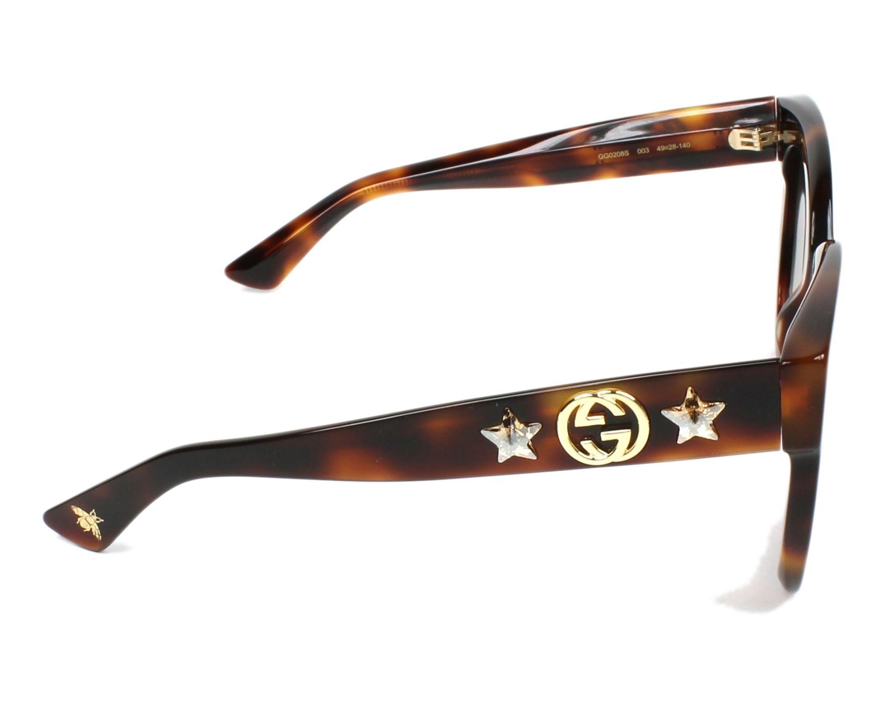 c9cf891d58f Sunglasses Gucci GG-0208-S 003 49-25 Havana side view