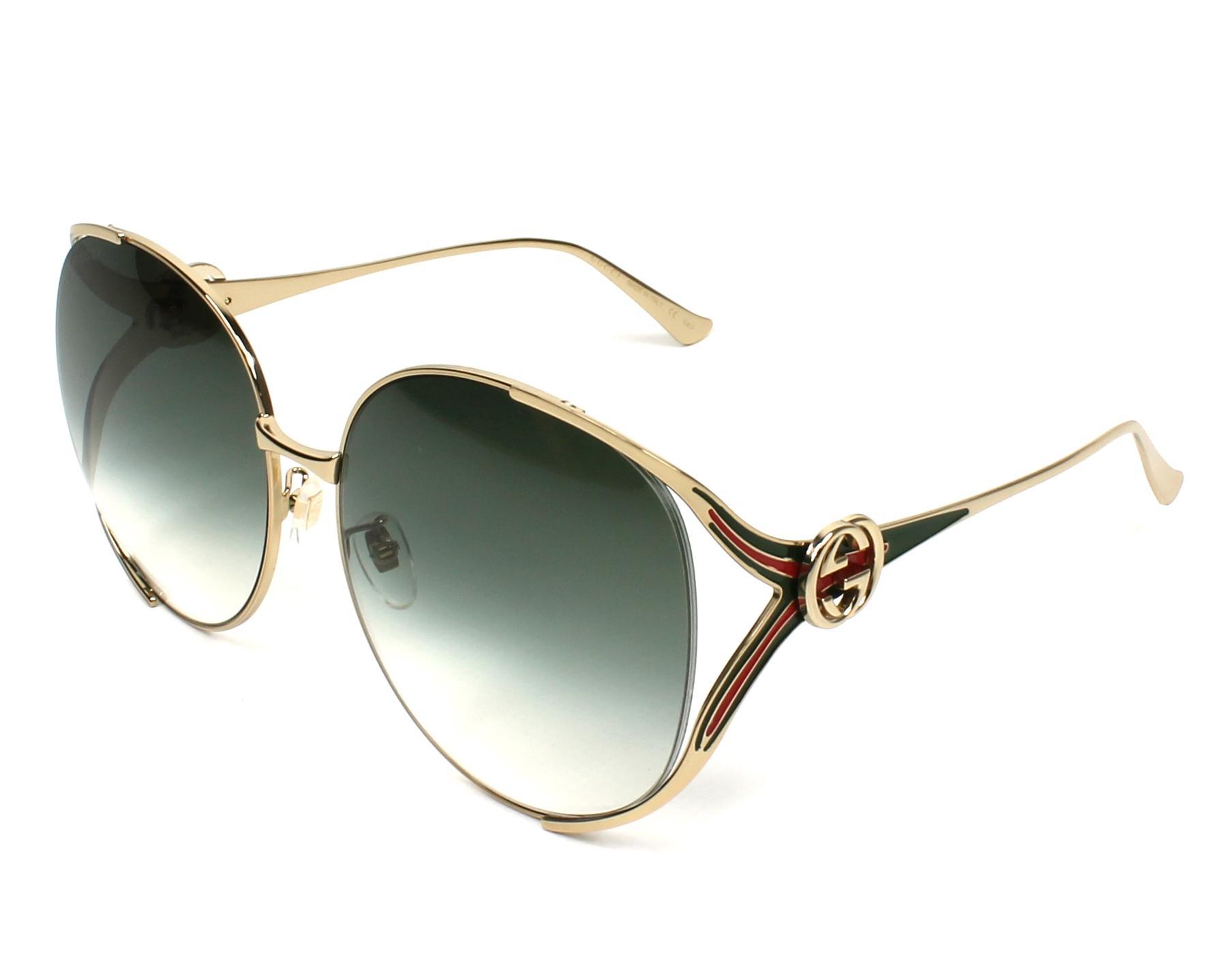 ac3097a6a00 Sunglasses Gucci GG-0225-S 003 63-17 Gold Green profile view