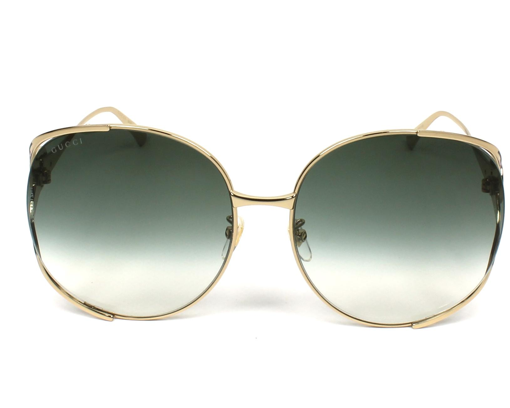 d2d7d429ee9 Sunglasses Gucci GG-0225-S 003 63-17 Gold Green front view