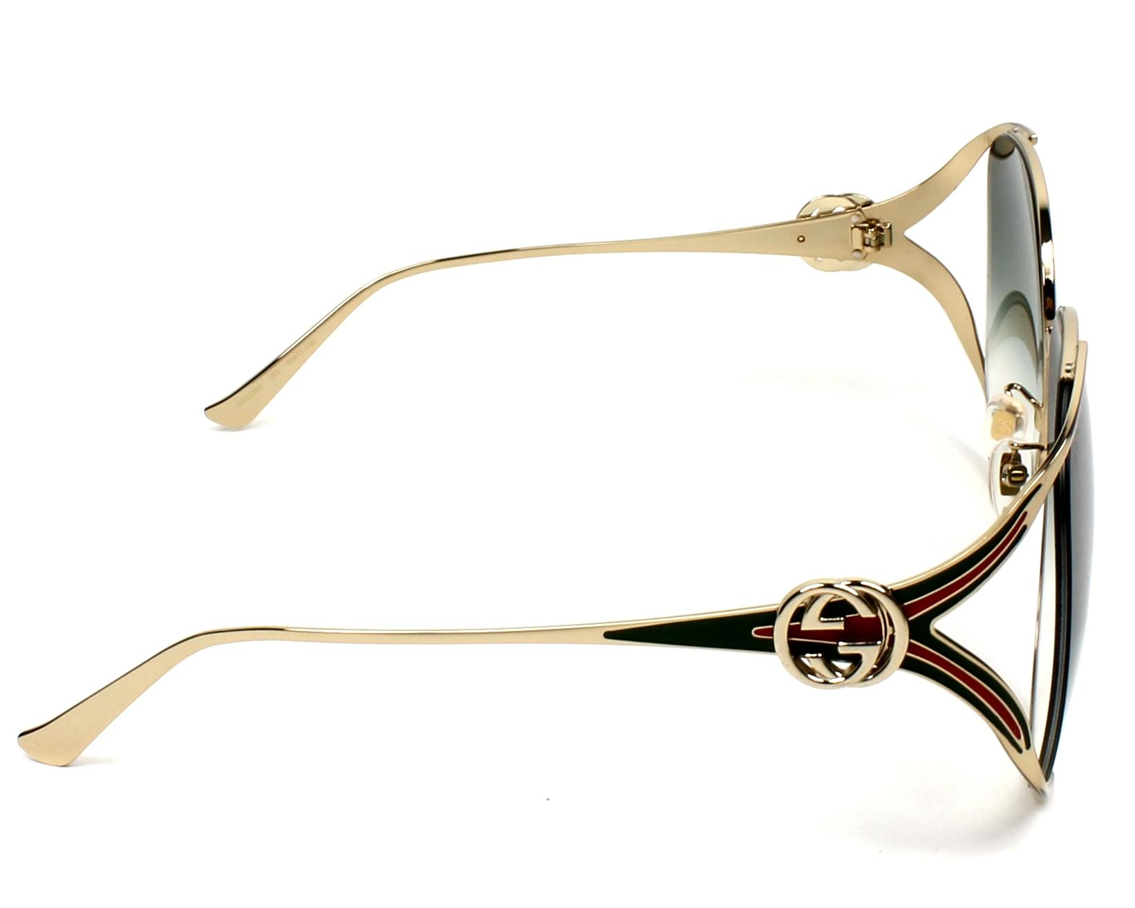 4a965f7893 Sunglasses Gucci GG-0225-S 003 63-17 Gold Green side view