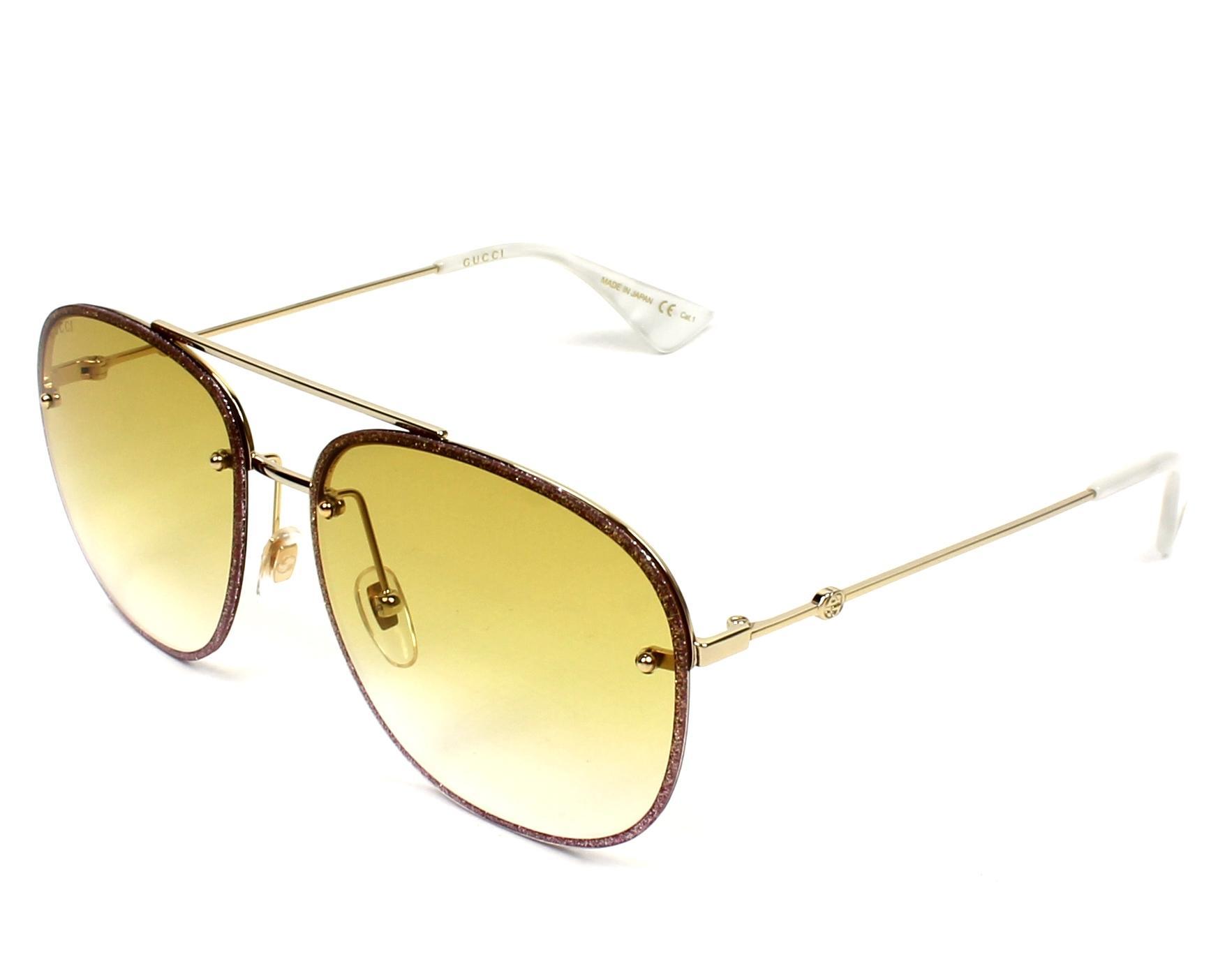 445a970d578 Sunglasses Gucci GG-0227-S 005 62-16 Rosa Gold profile view