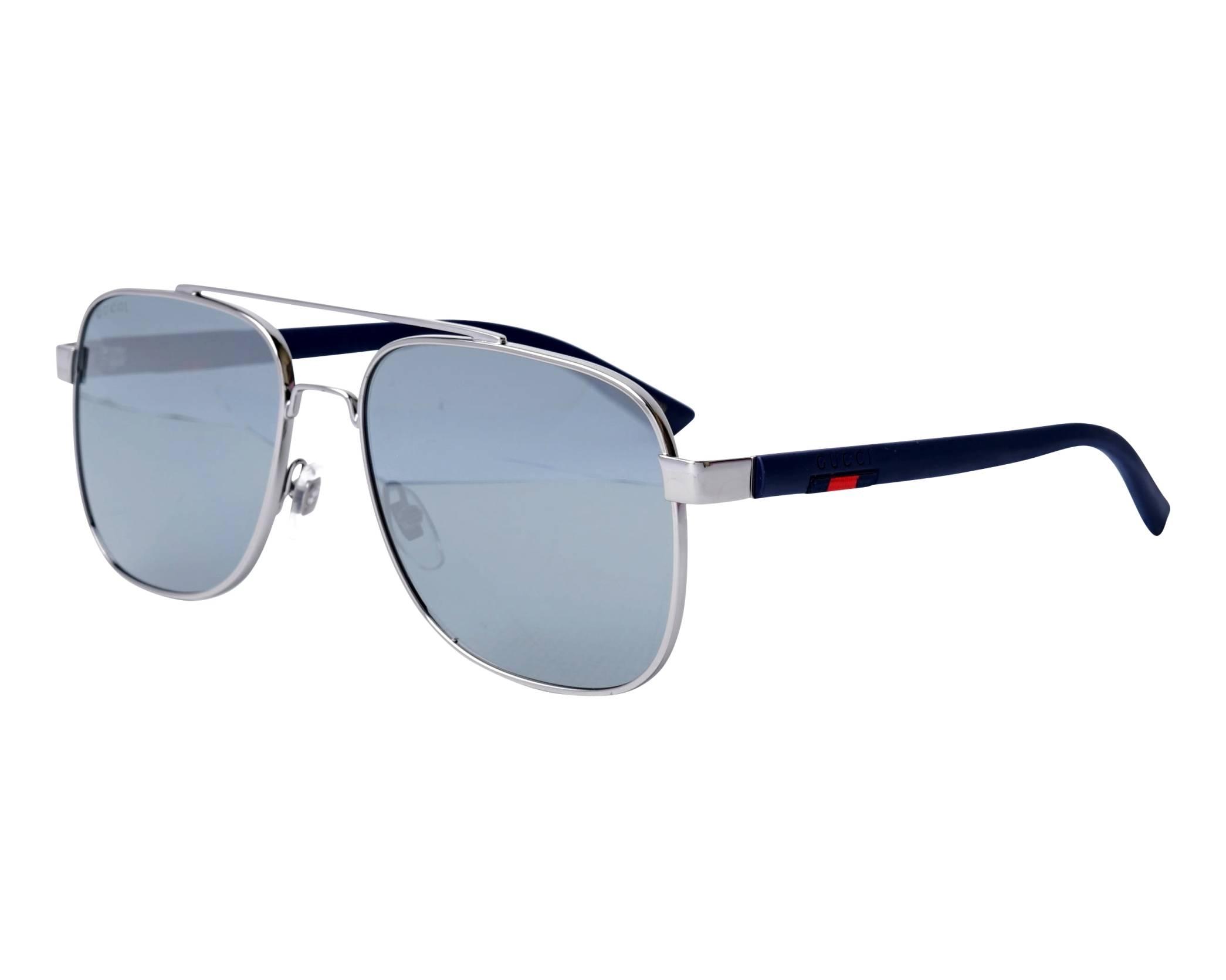 995a2395677 Sunglasses Gucci GG-0422-S 004 60-17 Ruthenium Blue profile view