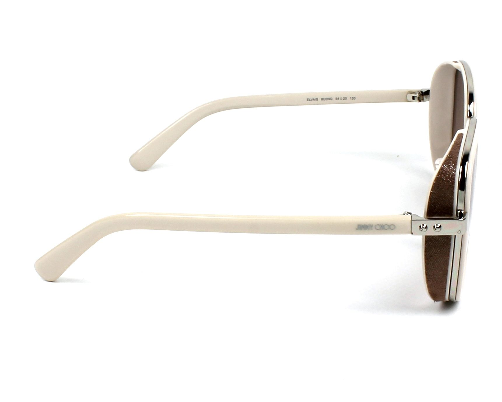 ebbb2f7d9127 thumbnail Sunglasses Jimmy Choo ELVA-S 8U0 NQ - Ochre Silver side view