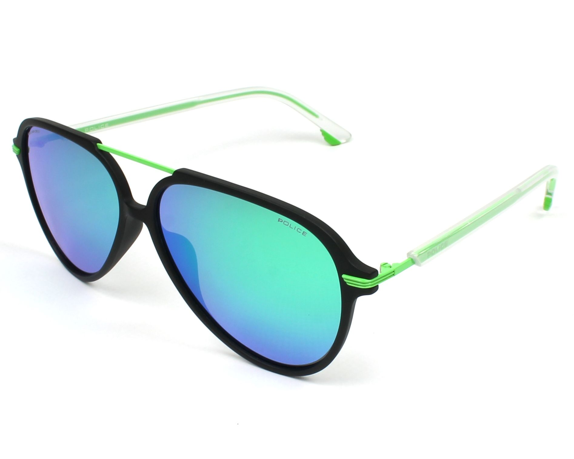 21114663835 Sunglasses Police SPL-582 U28V 58-13 Black Green profile view