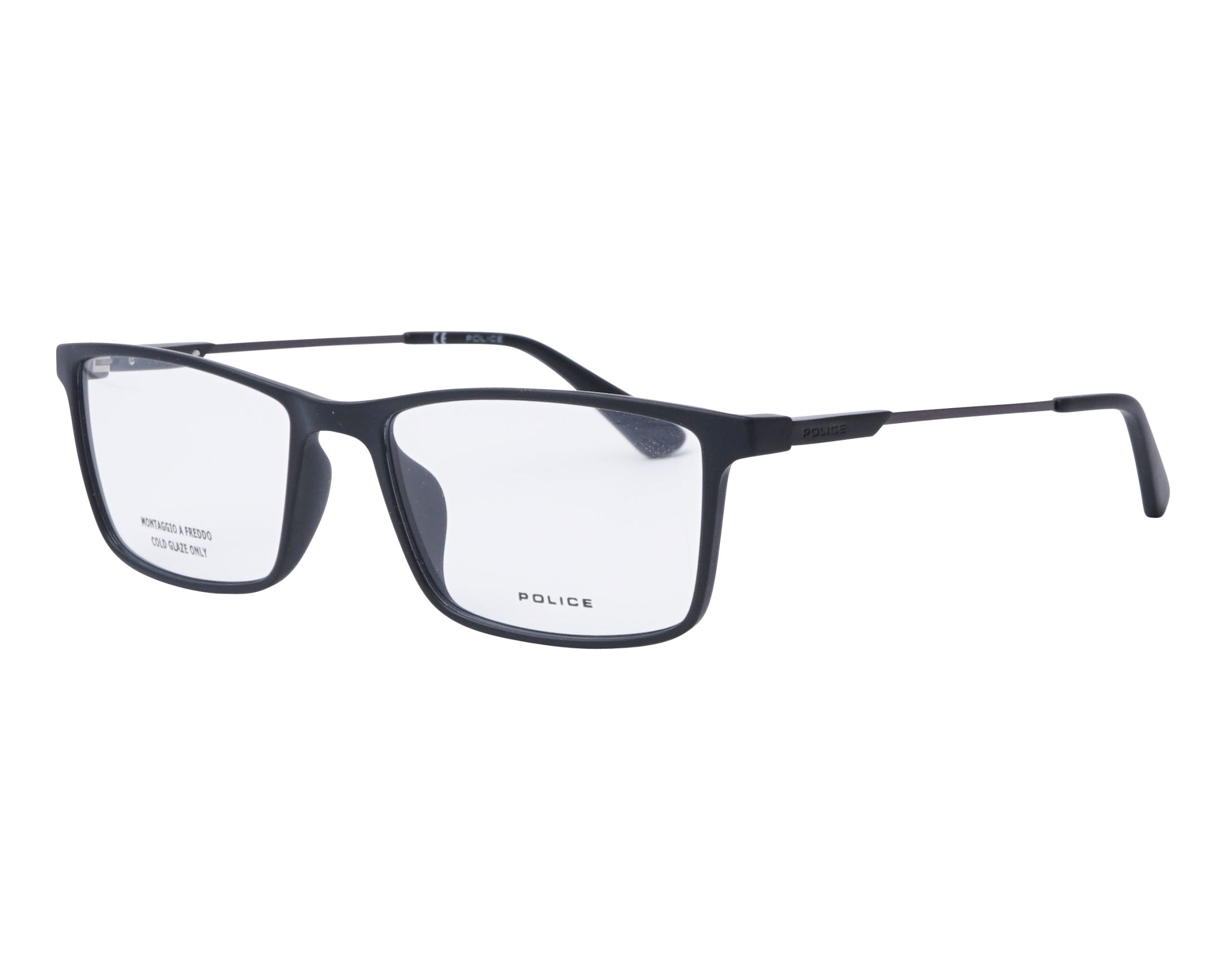 5db7b5864ed eyeglasses Police VPL-696 0U28 53-17 Black Gun profile view