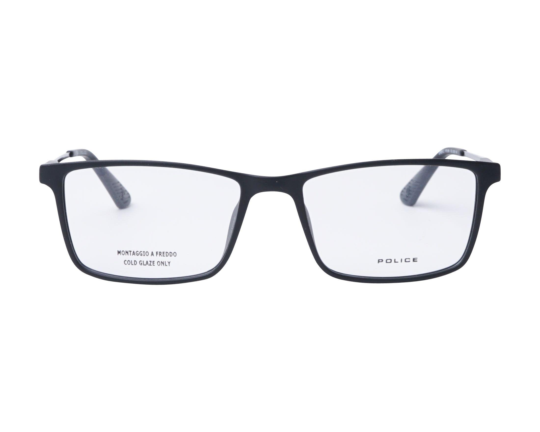 a52cf8c301a eyeglasses Police VPL-696 0U28 53-17 Black Gun front view
