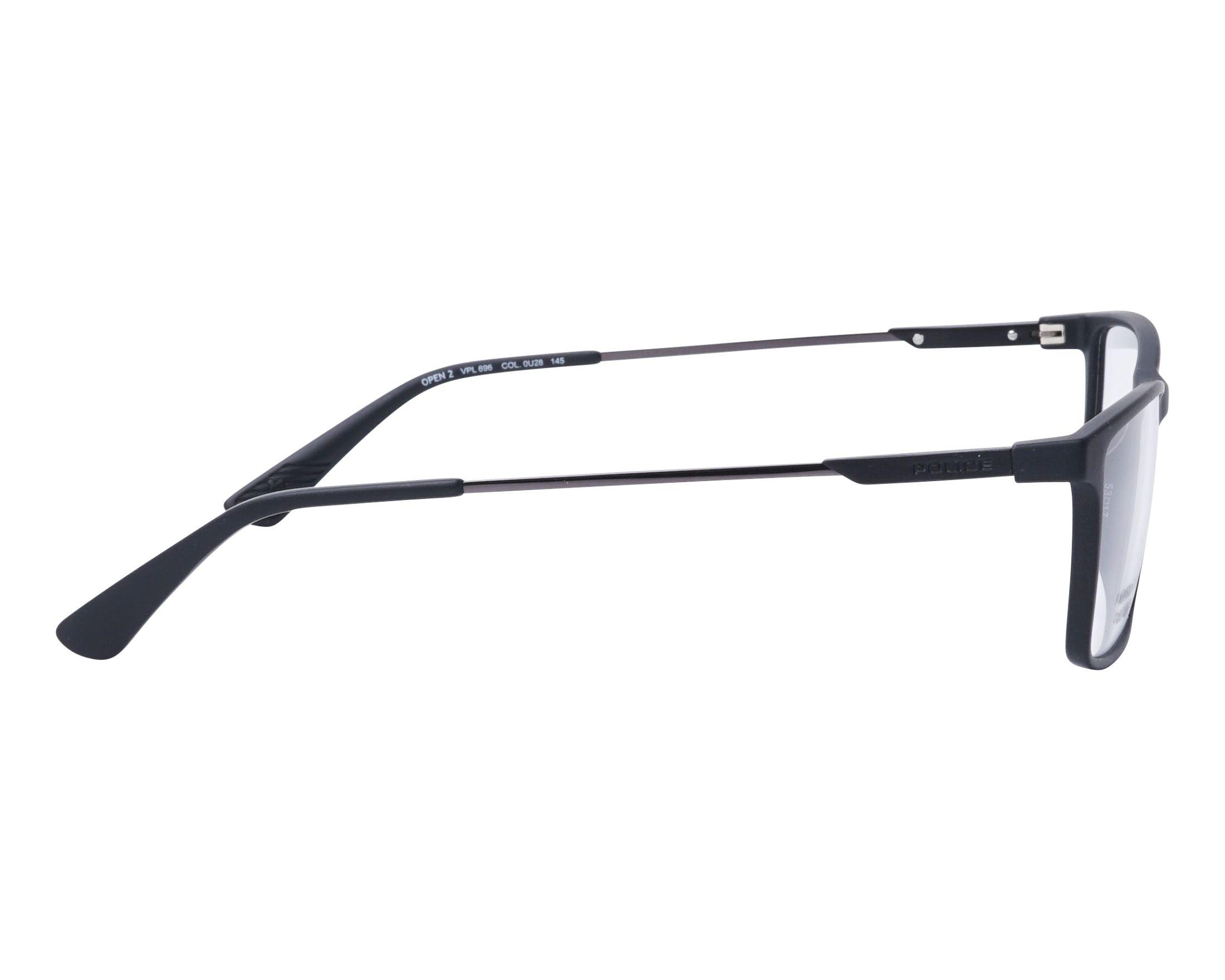 d0198729ff7 eyeglasses Police VPL-696 0U28 53-17 Black Gun side view