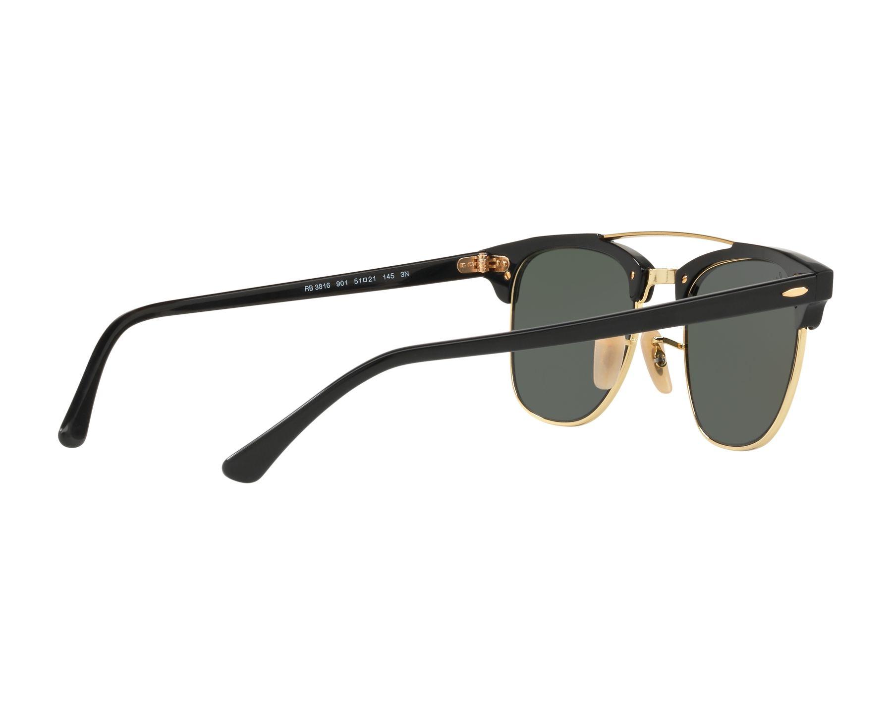 743b5b8cf18 Sunglasses Ray-Ban RB-3816 901 51-21 Black Gold 360 degree view