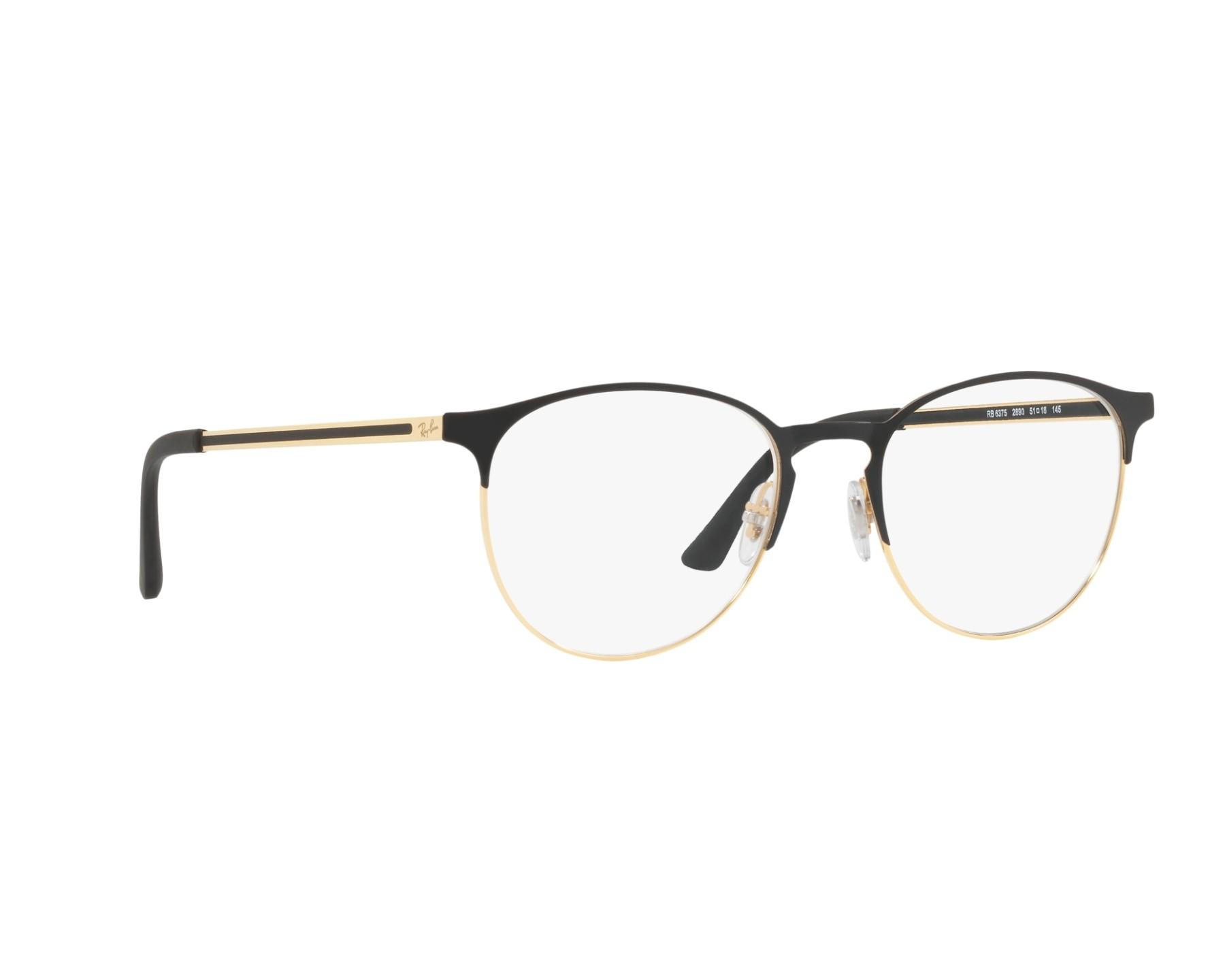 78918d7018e eyeglasses Ray-Ban RX-6375 2890 51-18 Black Gold 360 degree view