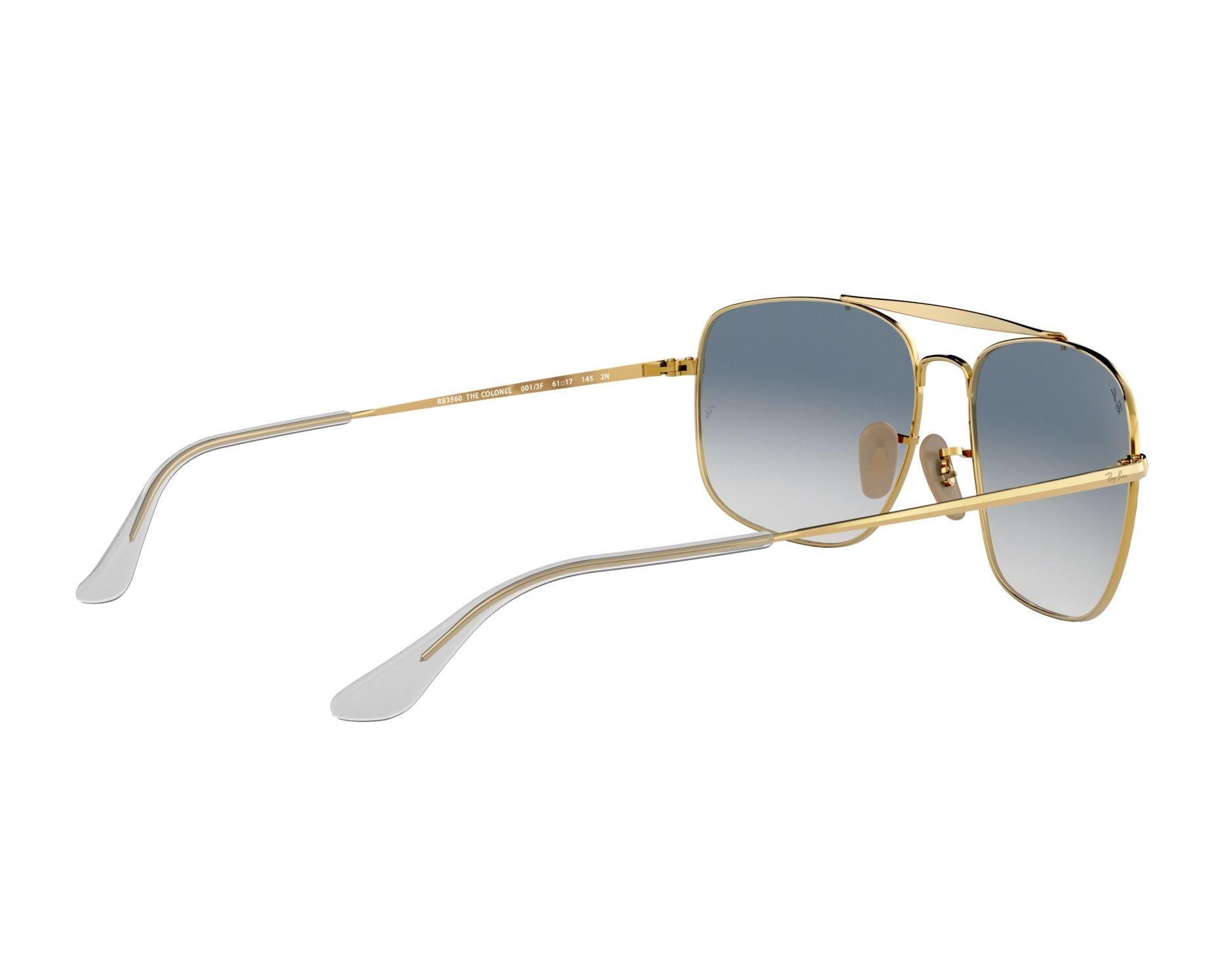 fa31749095e Sunglasses Ray-Ban RB-3560 001 3F 58-17 Gold 360 degree