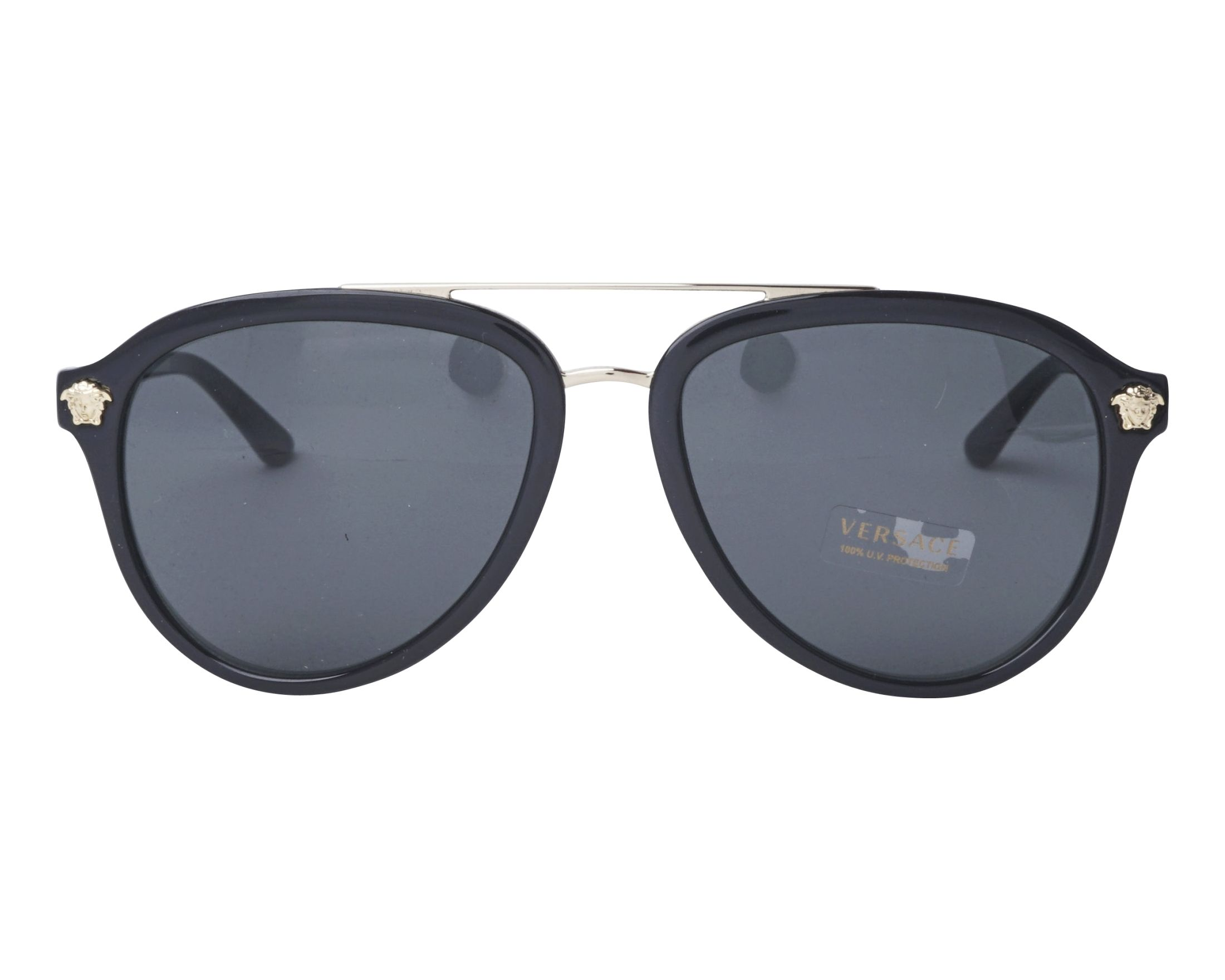 fcb441aa1f8 Sunglasses Versace VE-4341 GB1 87 58-18 Black Gold front view