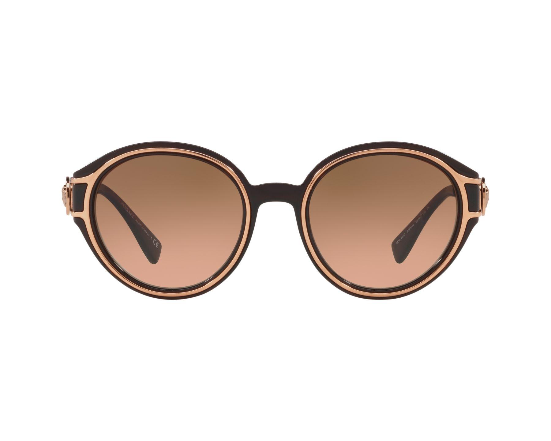 6524aee9e23e2 Sunglasses Versace VE-4342 509318 53-21 Brown Gold Copper 360 degree view 1
